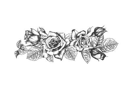 Cornice floreale. Schizzo disegnato a mano di rose, foglie e rami Illuatration botanico vintage dettagliato. Sagoma nera isolata su sfondo bianco Grafica creativa in stile incisione Vettoriali