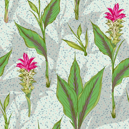 Colorful seamless pattern with hand drawn of Turmeric leaves, flowers and shadow silhouette on terrazzo background Retro vintage graphic design. Botanical sketch drawing Vector illustration Vettoriali