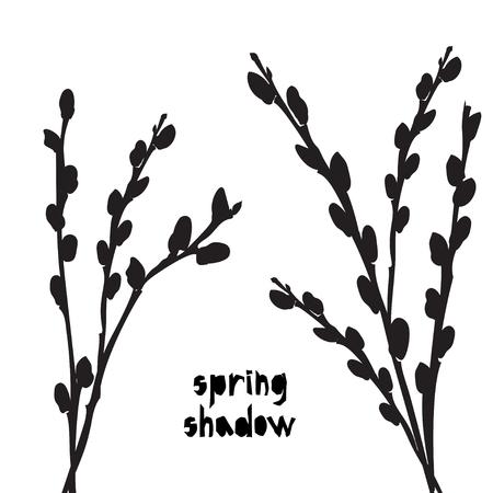 Modèle avec ombre de silhouette de saule noir isolé sur fond blanc. Textile en tissu vintage, conception d'impression d'été de mode, affiche exotique Illustrations vectorielles Vecteurs