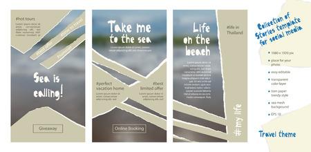 Plantilla editable fácil de moda para historias de redes sociales en estilo de papel rasgado. Tema de viajes Fondo de diseño creativo para promoción web individual y corporativa, blogs. Ilustración vectorial.