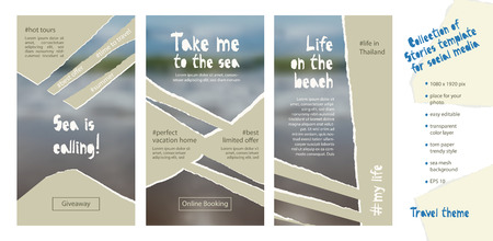 Trendy easy editable template for social media stories in torn paper style. Travel theme Creative design background for individual and corporate web promotion, blogs. Vector illustration. 向量圖像