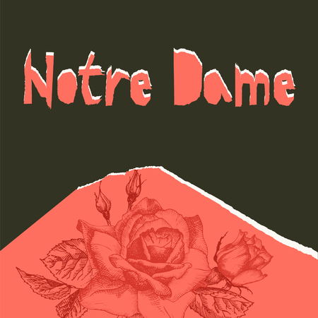 Notre Dame de pary poser. Torn paper style. Roses flower theme Creative design background for social media post, publishing, blogs. Red and black color. Vector illustration. Illustration