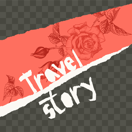 Trendy easy editable template for social media post in torn paper style. Roses flower theme Creative design background for individual and corporate web promotion, blogs. Vector illustration.