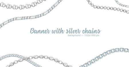 Horizontal web banner with abstract pattern of hand-drawn sketch silver chain isolated on white background. Great design for fashion, textile, jewelry label, decorative frame, business advertising
