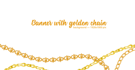 Horizontal web banner with abstract pattern of hand-drawn sketch golden chain isolated on white background. Great design for fashion, textile, jewelry label, decorative frame, business advertising