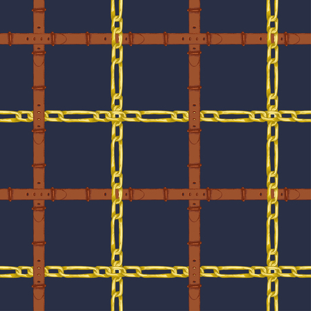 Seamless pattern with realistic hand drawn golden chains and brown leather belt Doodle sketch on dark blue background Square luxury ornament for fabric fashion design, web banner, branding advertising