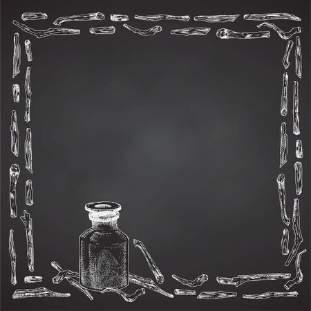 Ashwagandha hand drawn border frame pattern with berries, lives and branch in white chalk color on black chalkboard background. Retro vintage graphic design Botanical sketch drawing illustration