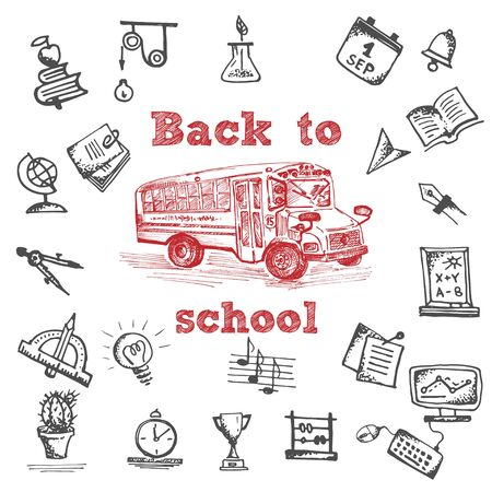 Hand drawn school bus symbol on white background. With text Back to school. Vintage background. Chalkboard design. Vector illustration Çizim