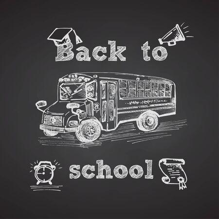 Hand drawn school bus symbol on black chalkboard. With text Back to school. Vintage background. Chalkboard design. Vector illustration Çizim