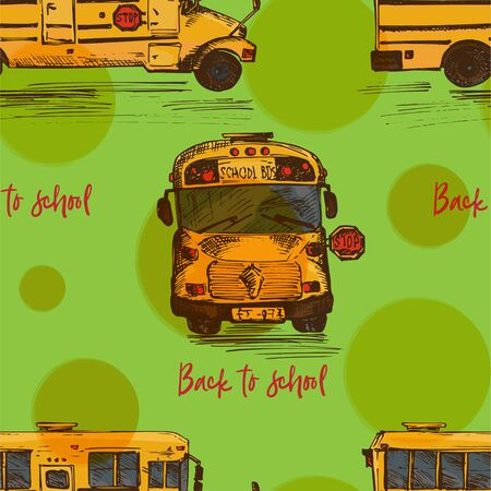 Seamless pattern with hand-drawn sketch yellow bus, isolated background Back to school theme, education concept color vintage vector illustration. Graphic art element for textile design, wallpaper