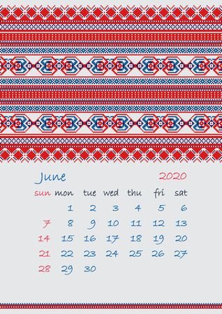 2020 Page of Calendar planner with ethnic cross-stitch ornament Week starts on Sunday June month Collection of Balto-Slavic ornaments Vector illustration. Çizim
