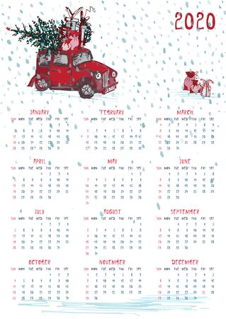 2020 Calendar planner whith red christmas truck, new year tree and celebrateted gifts. Xmas theme Week starts on Sunday. Scale A4 dimension Printable Wall calendar planner template Vector illustration