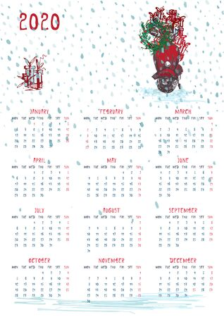 2020 Calendar planner whith red christmas car, new year tree and celebrateted gifts. Xmas theme Week starts on Monday. Scale A4 dimension Printable Wall calendar planner template Vector illustration Çizim