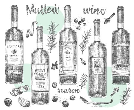 Set of hand drawn Christmas winter spices pattern and bottles of wine for traditionally hot winter drinks. Design templates menu, recipes, greeting cards Vector illustration