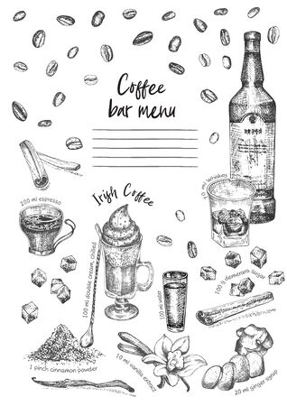 Vintage hand drawn sketch design bar, restaurant, cafe menu on white background. Graphic vector art. Irish coffee Whiskey with ice Creative template for flyer, banner, poster Engraving retro style