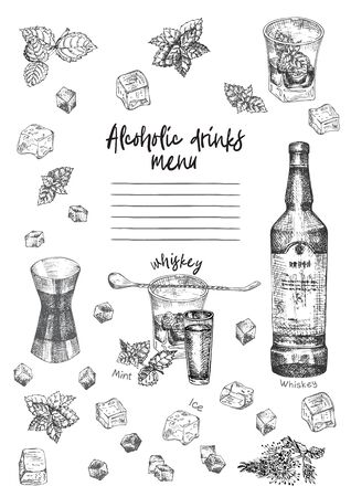 Vintage hand drawn sketch design bar, restaurant, cafe menu on white background. Graphic vector art. Whiskey with ice and mint Creative template for flyer, banner, poster Engraving retro style