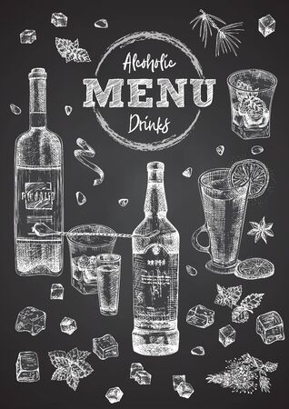 Vintage hand drawn sketch design bar, restaurant, cafe cover menu on black chalk board background. Graphic vector art Whiskey with ice, mint Creative template for flyer, banner, poster Иллюстрация