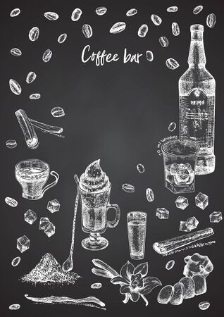 Vintage hand drawn sketch design bar, restaurant, cafe menu on black chalk board background. Graphic art. Irish coffee Whiskey with ice Place for your text Vector illustrations