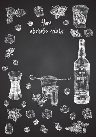 Vintage hand drawn sketch design bar, restaurant, cafe menu on black chalk board background. Place for your text. Graphic vector art. Whiskey with ice and mint Creative template for flyer, banner
