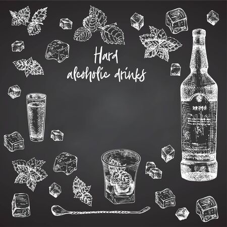 Vintage hand drawn sketch design bar, restaurant, cafe menu on black chalk board background. Place for your text. Graphic vector art. Iwhiskey with ice and mint Creative template for flyer, banner