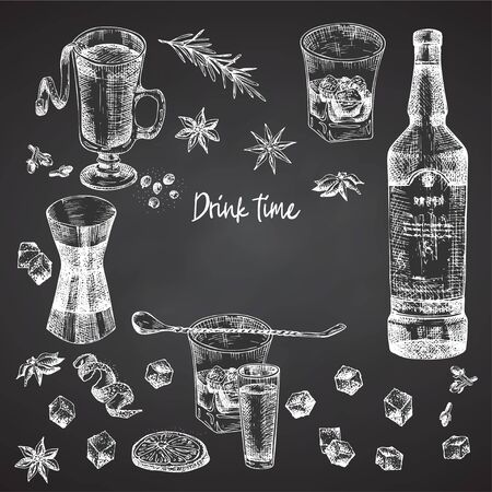 Vintage hand drawn sketch design bar, restaurant, cafe menu on black chalk board background. Place for your text. Graphic vector art. Iwhiskey with ice and mulled wine Creative template for flyer