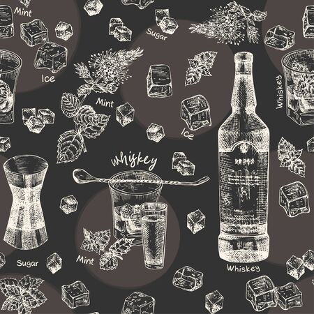 Vintage hand drawn sketch design bar, restaurant, cafe menu on black chalk board background. Seamless pattern. Graphic vector art. Iwhiskey with ice and mulled wine Creative template for flyer