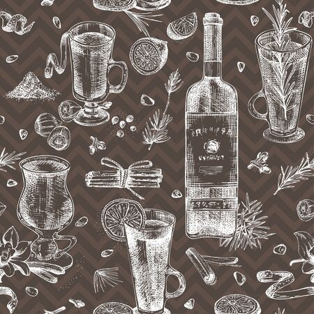 Seamless pattern with hand drawn Christmas winter spices, glasses of traditionally hot winter drinks and wine bottle. Good idea for templates menu, recipes. Chalk board style art illustration