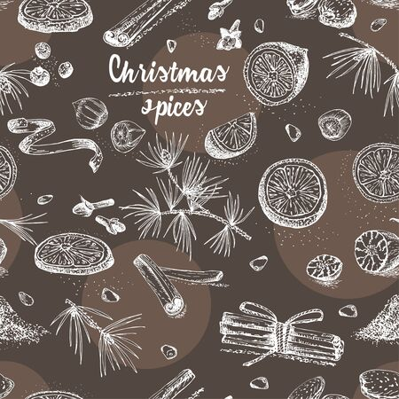Seamless pattern with hand drawn Christmas winter spices. Traditionally used in made desserts, mulled wine, cookies. Design for templates menu, recipes, cards. Chalk board style art illustration