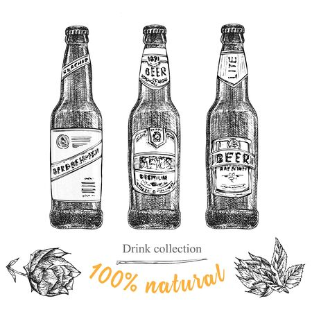 Set hand drawn sketch bottles of beer, hop, wheat Vintage design bar, restaurant, cafe menu on white background. Graphic vector art Creative template for flyer, banner, poster Engraving style