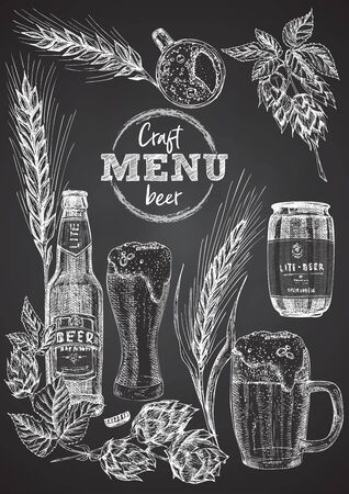 Set hand drawn sketch bottle and glasses beer, hop, wheat Vintage design bar, restaurant, cafe menu onon black chalk board background. Graphic vector art Creative template for flyer, banner, poster Фото со стока - 129704996