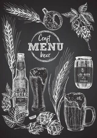 Set hand drawn sketch bottle and glasses beer, hop, wheat Vintage design bar, restaurant, cafe menu onon black chalk board background. Graphic vector art Creative template for flyer, banner, poster Иллюстрация
