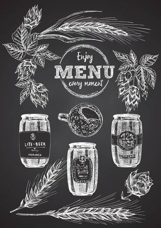Set hand drawn sketch bottle and beer can, hop, wheat Vintage design bar, restaurant, cafe menu on black chalk board background. Graphic vector art Creative template for flyer, banner, poster