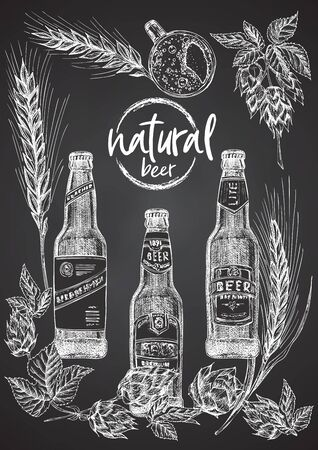 Set hand drawn sketch bottle and glasses beer, hop, wheat Vintage design bar, restaurant, cafe menu on black chalk board background. Graphic vector art Creative template for flyer, banner, poster Иллюстрация