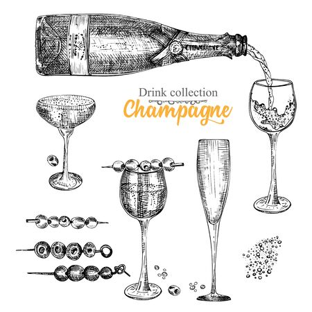 Set hand drawn sketch bottle and glasses champagne, Vintage design bar, restaurant, cafe menu on white background. Graphic vector art Creative template for flyer, banner, poster Engraving style