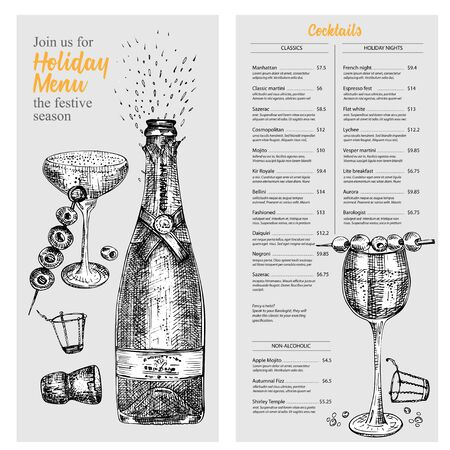 Cocktail bar menu design template set in retro style Isolated on gray background. Hand drawn glass and bottle champagne. Vintage wine card. Alcohol beverage symbol. Graphic vector illustration art.