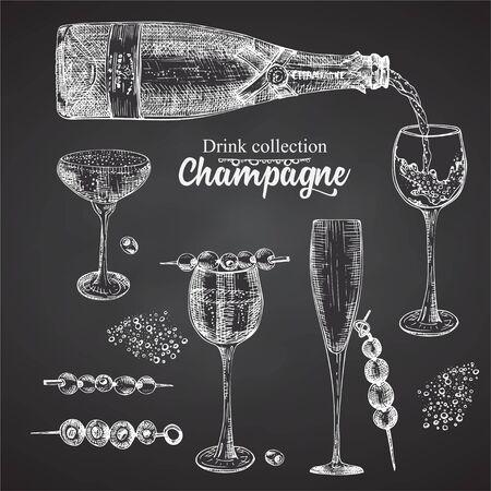 Set hand drawn sketch bottle and glasses champagne on black chalckboard, Vintage design bar, restaurant, cafe menu on white background. Graphic vector art Creative template for flyer, banner, poster Ilustração