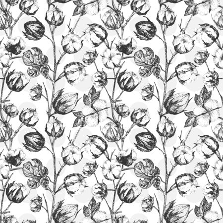 Seamless pattern with twigs, flowers and leaves of a cotton plant. Hand-drawn vintage sketch botanical illustration. Engraving style. Pure organic eco herbs Black and white vector