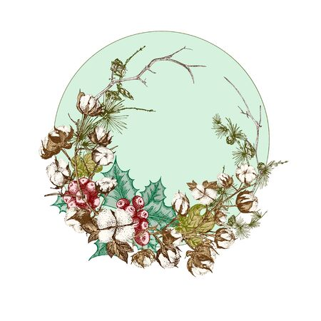 Hand drawn botanical sketch garland with christmas plants branches. Vintage engraving style. Traditional holiday decoration. For design festive card, invitation, poster, banner. Vector illustration Standard-Bild - 132232870
