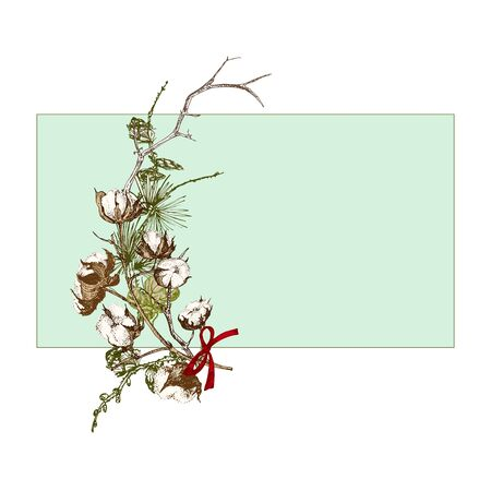 Hand drawn botanical sketch garland with christmas plants branches. Vintage engraving style. Traditional holiday decoration. For design festive card, invitation, poster, banner. Vector illustration Banco de Imagens - 132230260