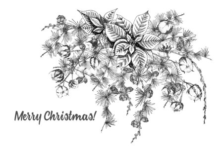Hand drawn botanical sketch garland with christmas plants branches. Vintage engraving style. Traditional holiday decoration. For design festive card, invitation, poster, banner. Vector illustration Banque d'images - 132240034