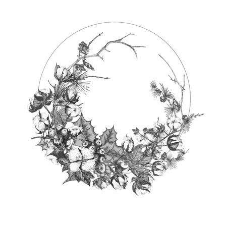 Hand drawn botanical sketch garland with christmas plants Vintage engraving black and white style illustration Traditional holiday decoration. For design festive card, invitation, poster, banner.