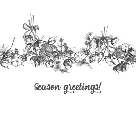 Hand drawn botanical sketch garland with christmas plants Vintage engraving black and white style illustration For design festive card, invitation, poster, banner. Seamless horizontal holiday pattern