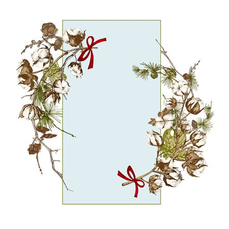 Hand drawn botanical sketch garland with christmas plants branches. Vintage engraving style. Traditional holiday decoration. For design festive card, invitation, poster, banner. Vector illustration Иллюстрация
