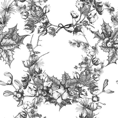 Hand drawn botanical sketch garland with christmas plants Vintage engraving black and white style illustration For design festive card, invitation, poster, banner. Seamless holiday pattern Ilustração