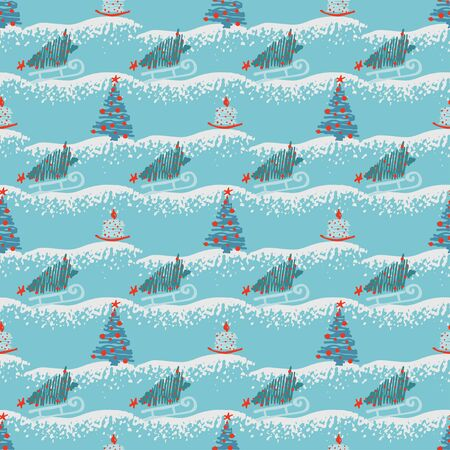 Seamless pattern Modern sketch with trendy stylized christmas tree and candle for winter holiday decoration design. Vintage style, flat color Abstract concept graphic background Vector illustration Ilustração