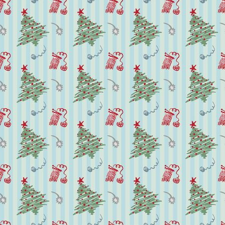 Seamless pattern Modern sketch with trendy stylized christmas tree and ... for winter holiday decoration design. Vintage style, flat color Abstract concept graphic background Vector illustration