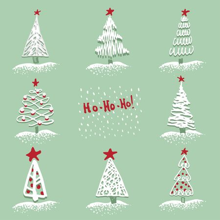 Greeting card Modern sketch set with trendy stylized christmas tree Isolated on background for winter holiday decoration design. Snowy forest Vintage style, flat color Abstract concept vector graphic Ilustração