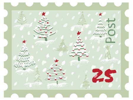 Postage Stamp Modern sketch with trendy stylized christmas tree Isolated on background for winter holiday decoration design. Snowy forest. Vintage style, flat color Abstract concept vector graphic