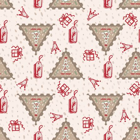 Seamless pattern Modern sketch with trendy stylized christmas tree and postage stamp for winter holiday decoration design. Vintage style, flat color Abstract graphic background Vector illustration