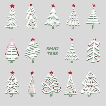 Modern sketch set with trendy stylized christmas tree Isolated on background for winter holiday decoration design. Snowy forest. Vintage style, flat color Abstract concept graphic Vector illustration Ilustração
